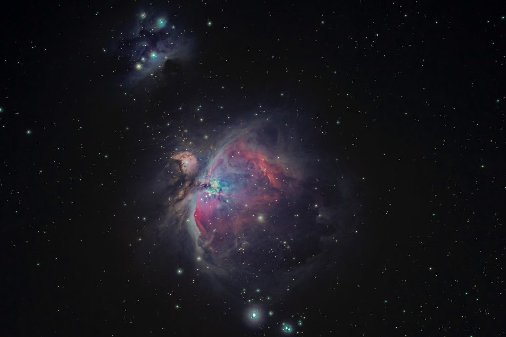 Photo of the Orion Nebula, composed of 60 images at 60 seconds each. Stacked to reduce noise and bring out the details