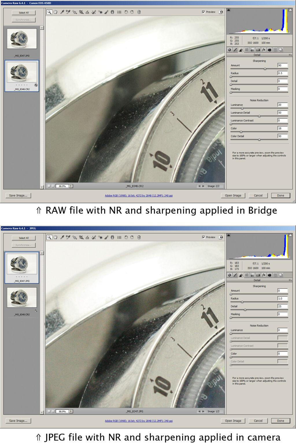 RAW vs JPEG noise comparison