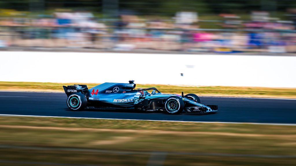 racing car panning shot