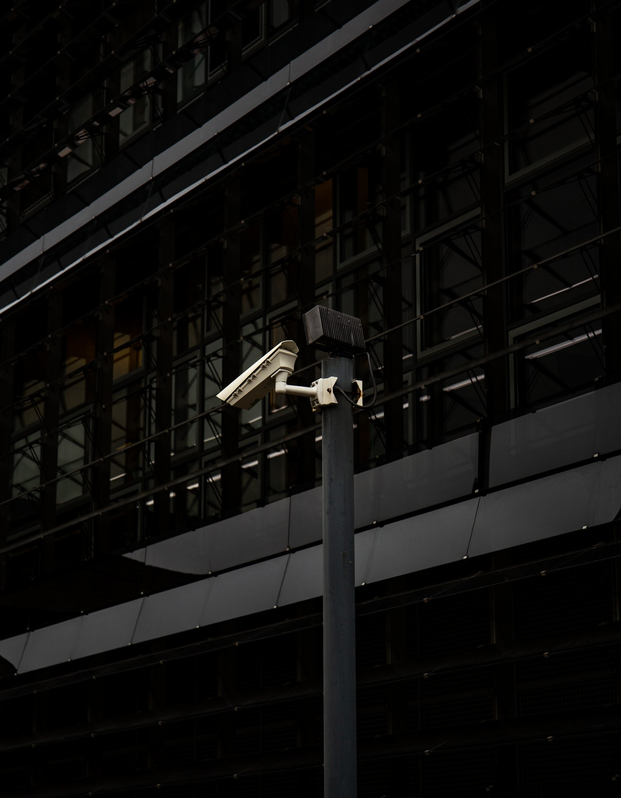cctv camera on a post outside a building