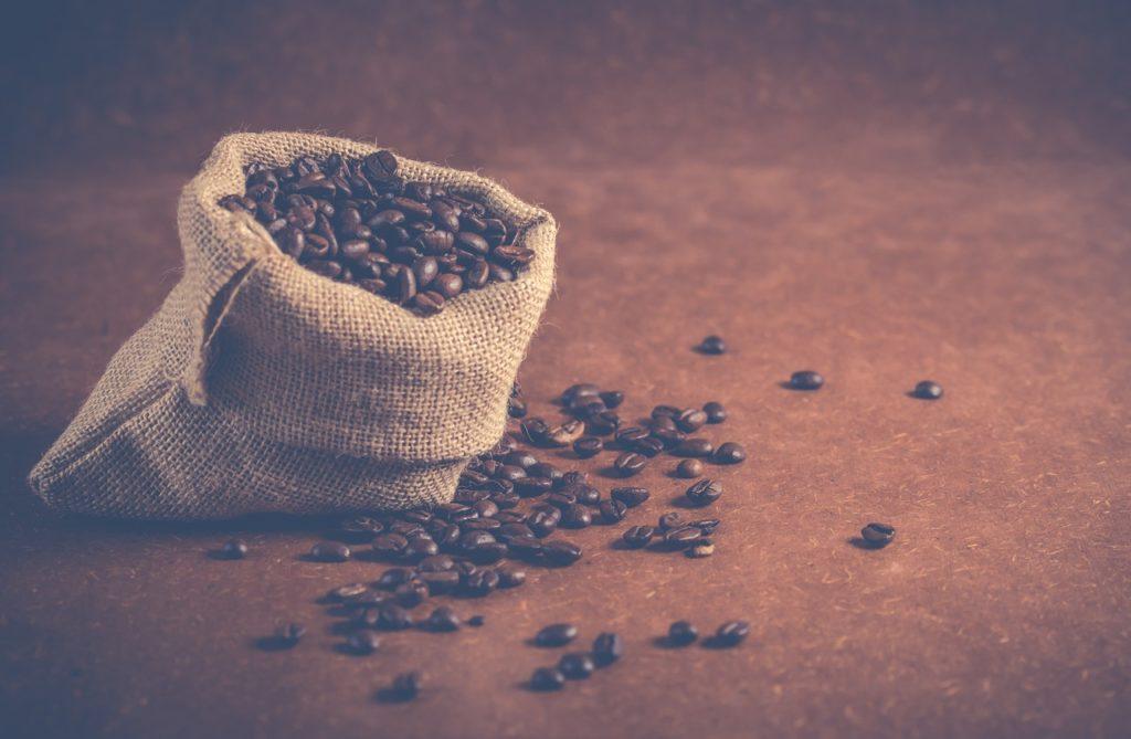 coffee beans on gray sack