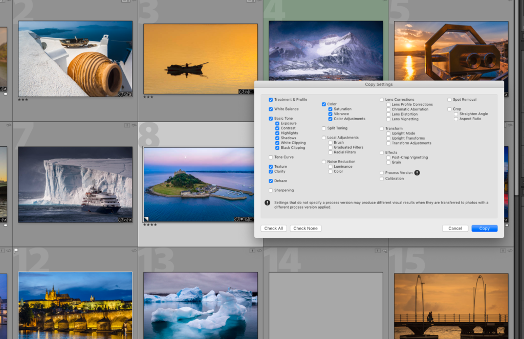 copy metadata and edits in Lightroom