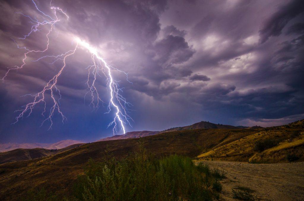 Lightning on hills.