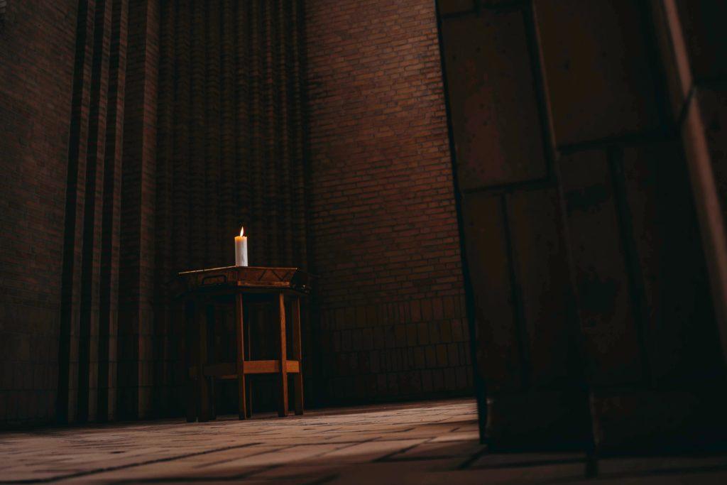 Cinematic church scene shot with Dutch Angle