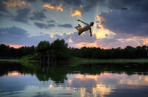 A man diving