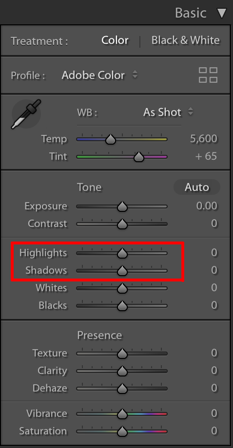 decrease highlights and increase shadows