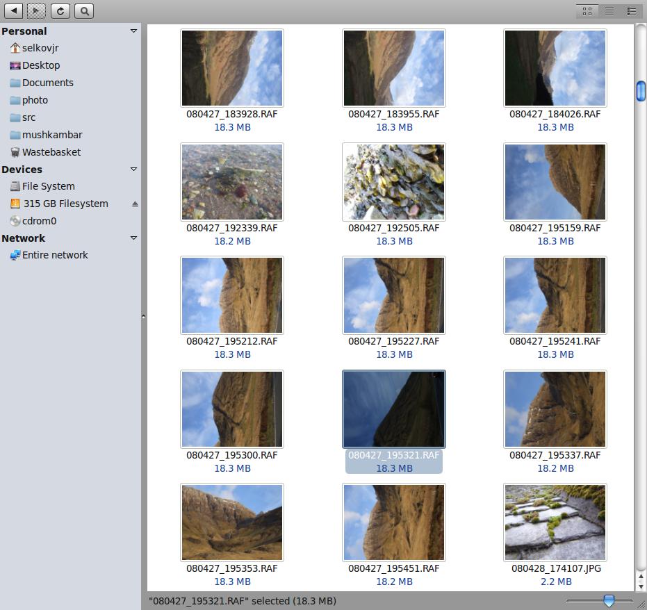 Raw file storage