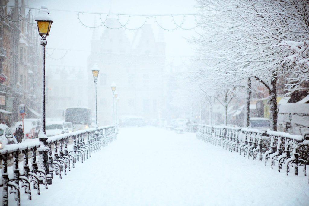 Snowy street scene.