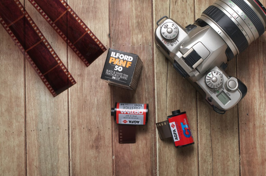 Modern digital camera with film roll