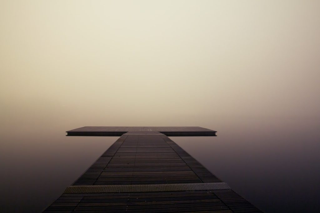 fog foggy jetty lake
