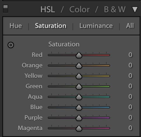 hsl / color / b & w panel