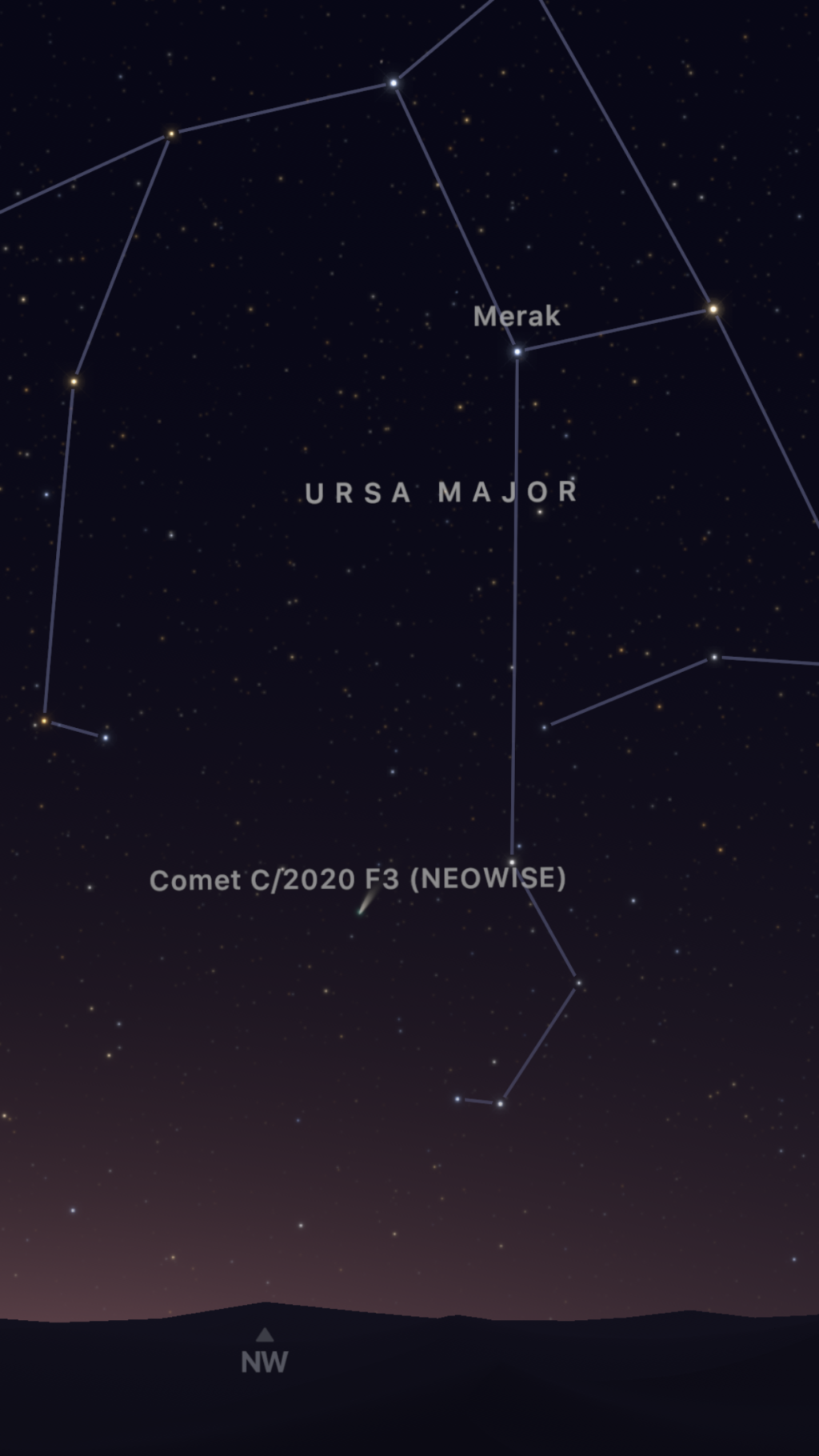 Screenshot of Sky Guide app showing comet NEOWISE