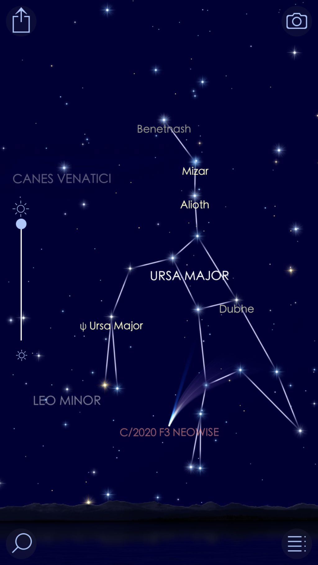Screenshot of Star Walk 2 app showing comet NEOWISE