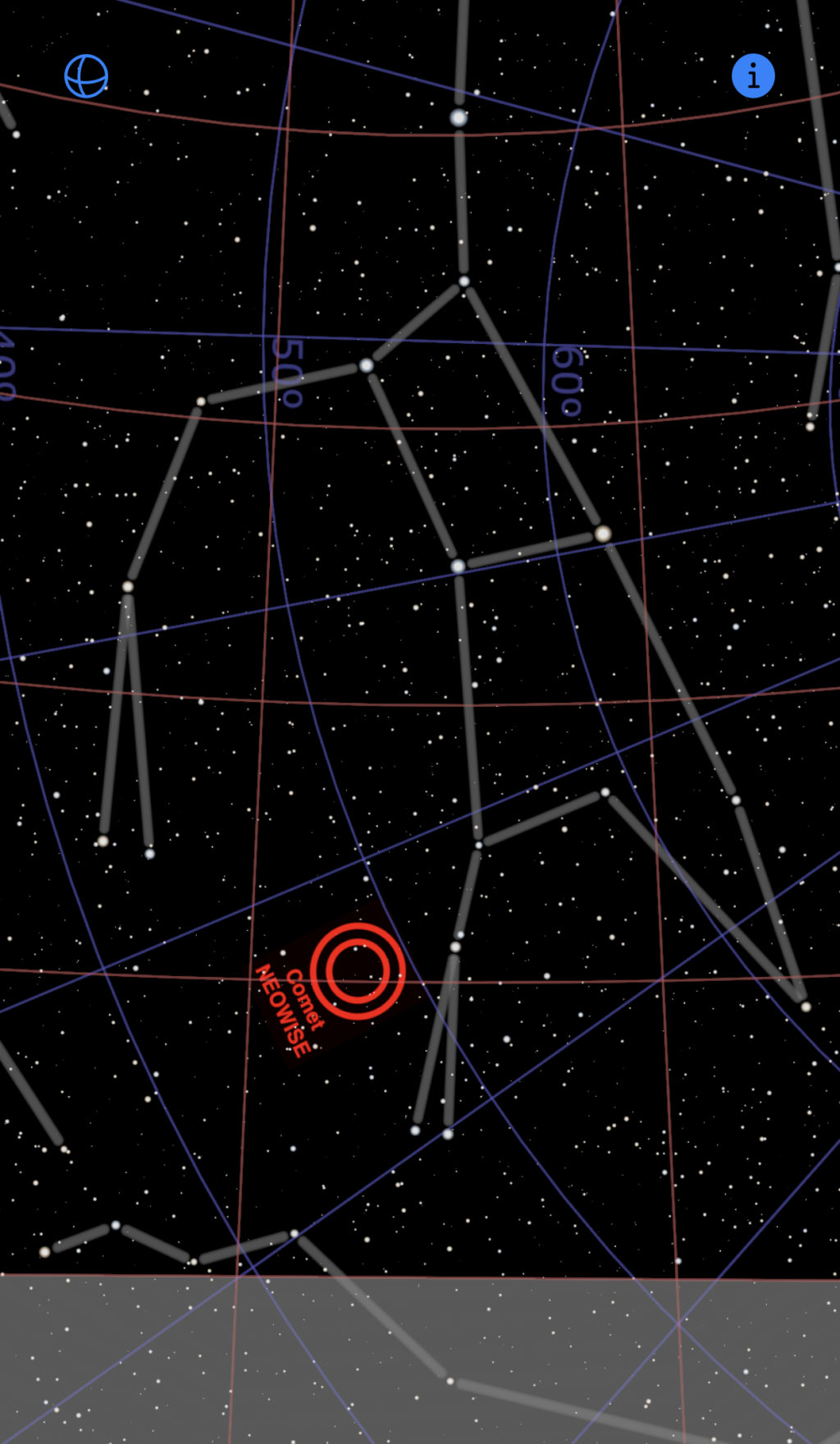 Screenshot of CometNEOWISE app showing comet NEOWISE
