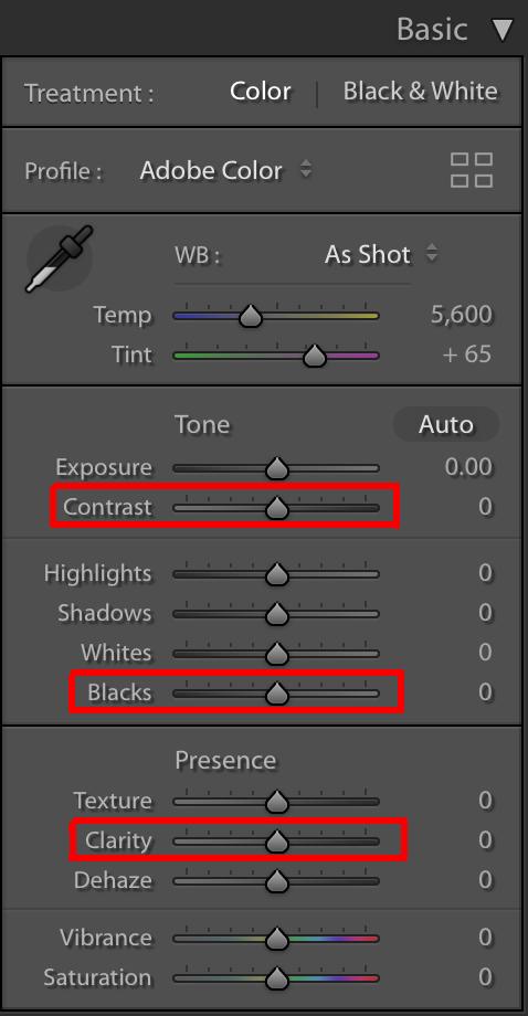 increase contrast increase clarity and decrease blacks