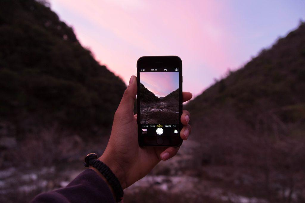 Photo of pink sunset landscape using camera phone