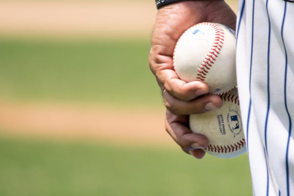 Sports photography baseballs close up