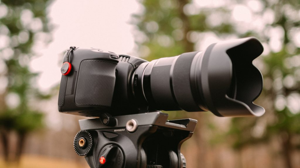 Camera with telephoto lens and lens hood on tripod.