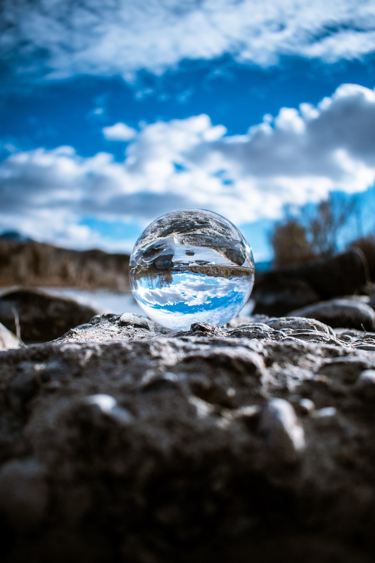 lensball on gray stone