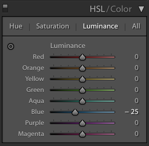 luminance section of the hsl panel