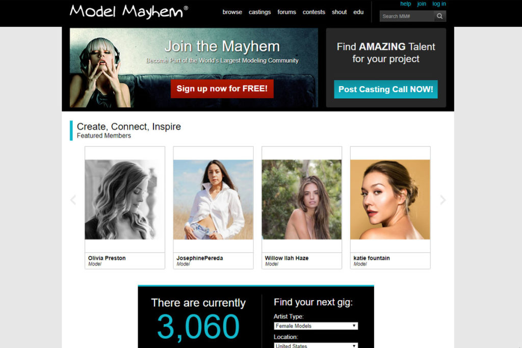 model mayhem homepage