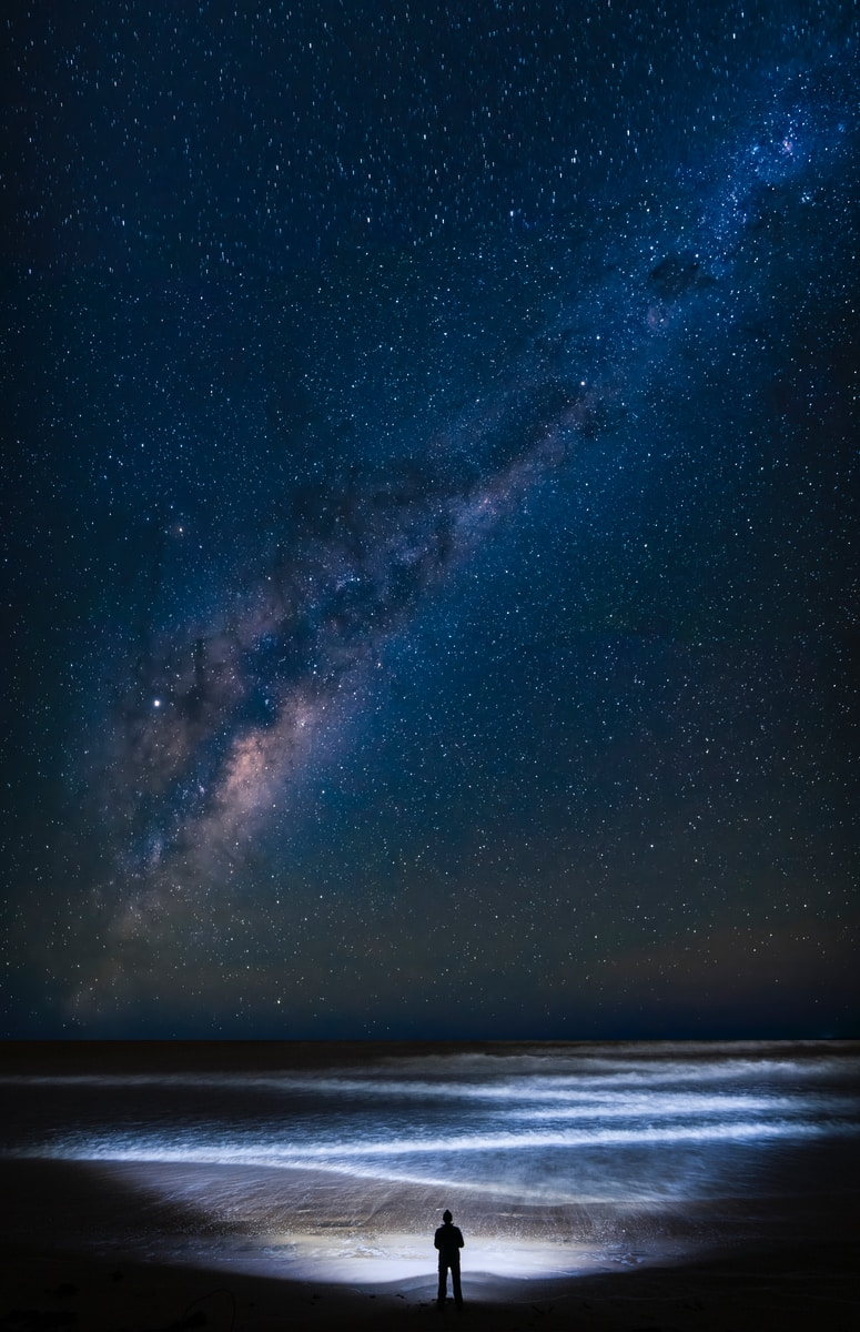 Milky Way with beach foreground