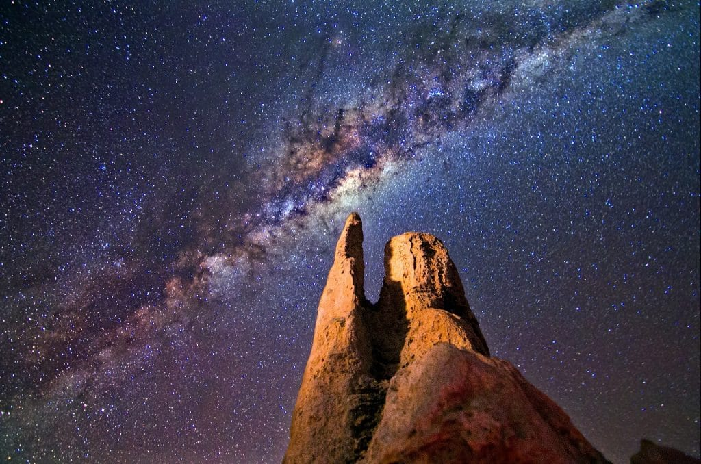 Milky Way over rock formation