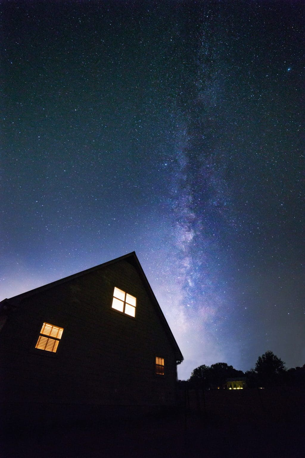 Milky Way over a house