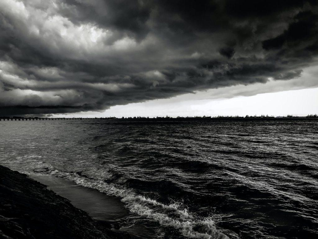 monochromatic photo of calm body of water