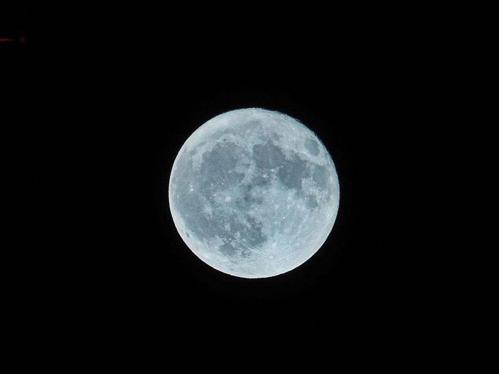 Blue moon in the night sky