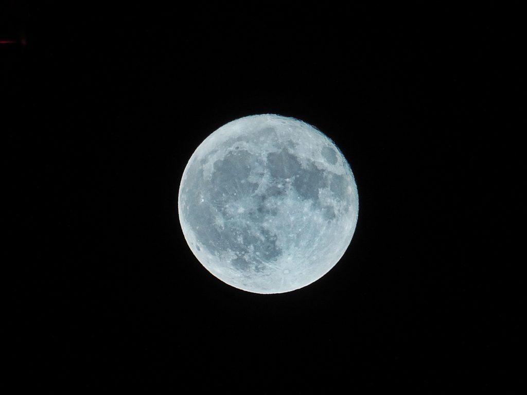 Blue moon in the night sky