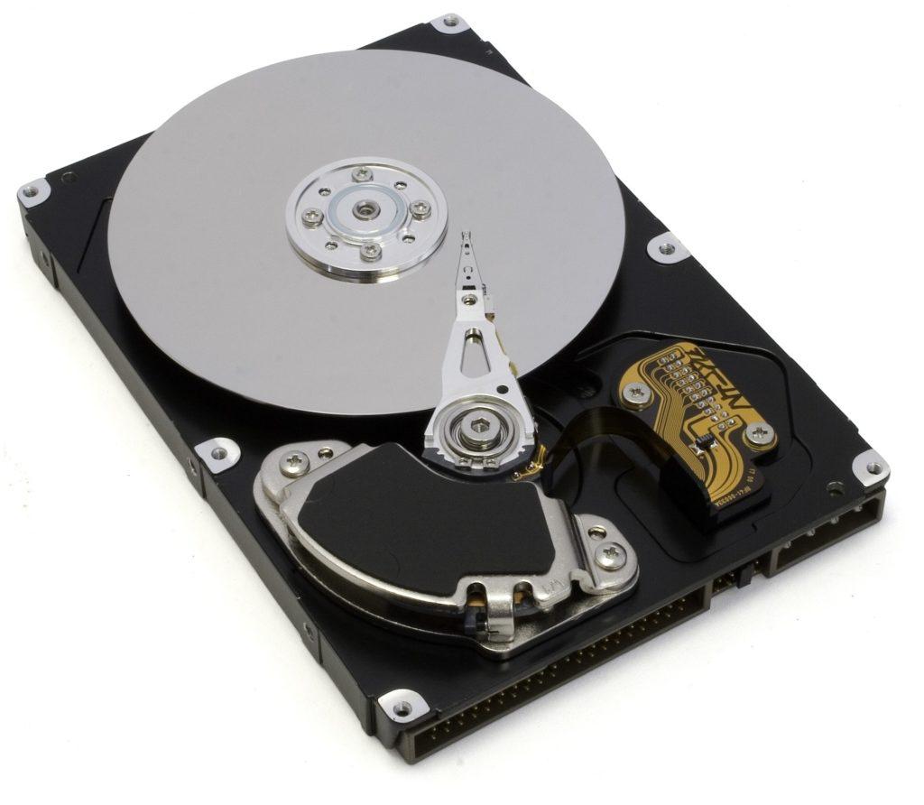 External hard drive showing platter