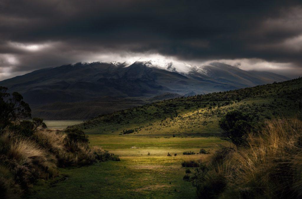 green mountains under fog, landscape photography