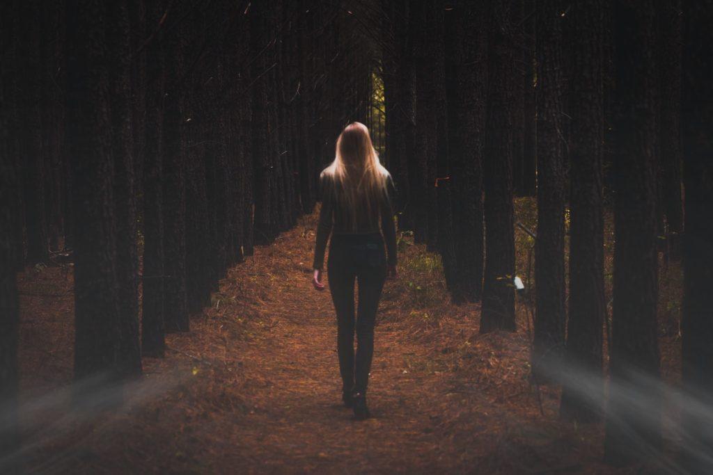 person walking towards trees