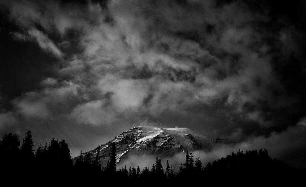 Stunning black and white mountain shot