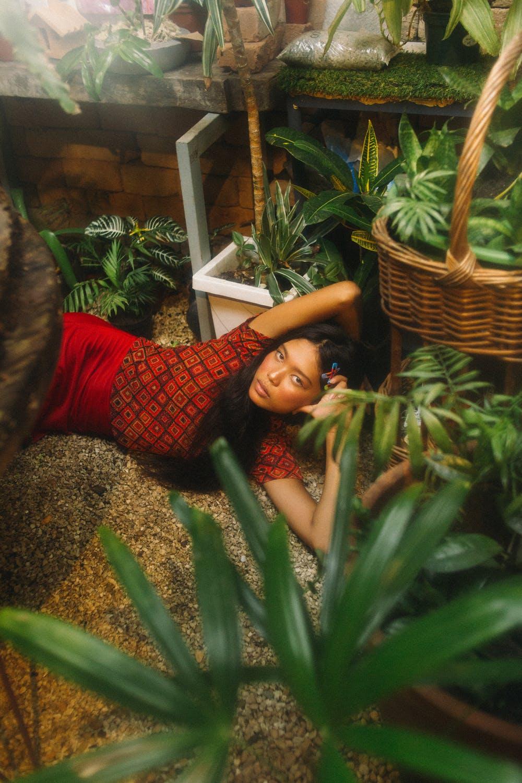 Model in garden