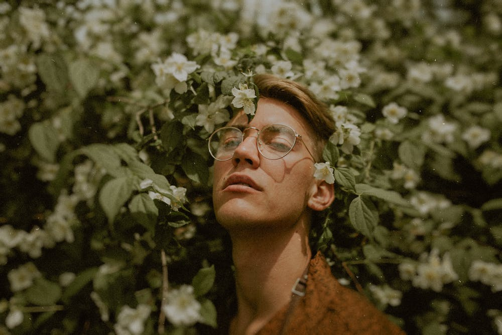 Man in flowers