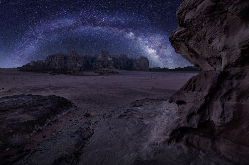 stars, night sky, over desert landscape