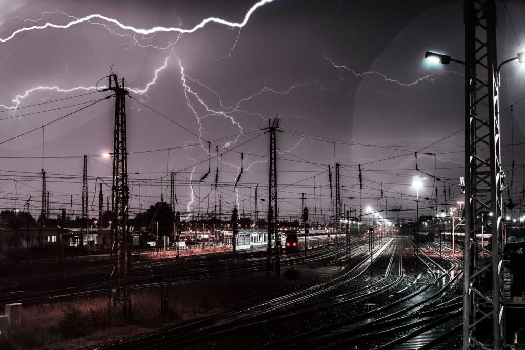 lightning cityscape