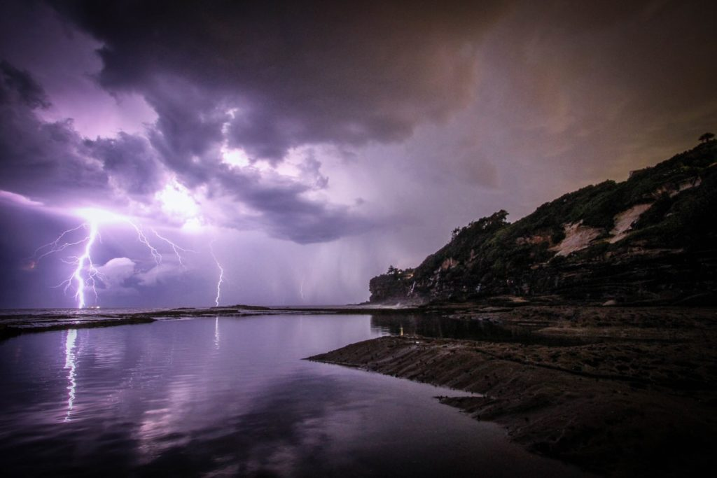 lightning above lake
