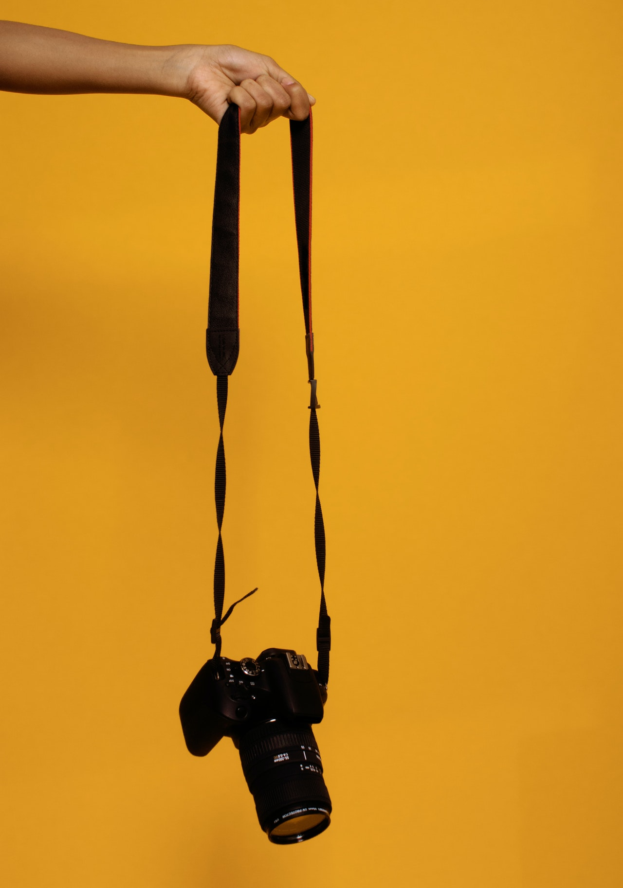 photo of person holding black dslr camera