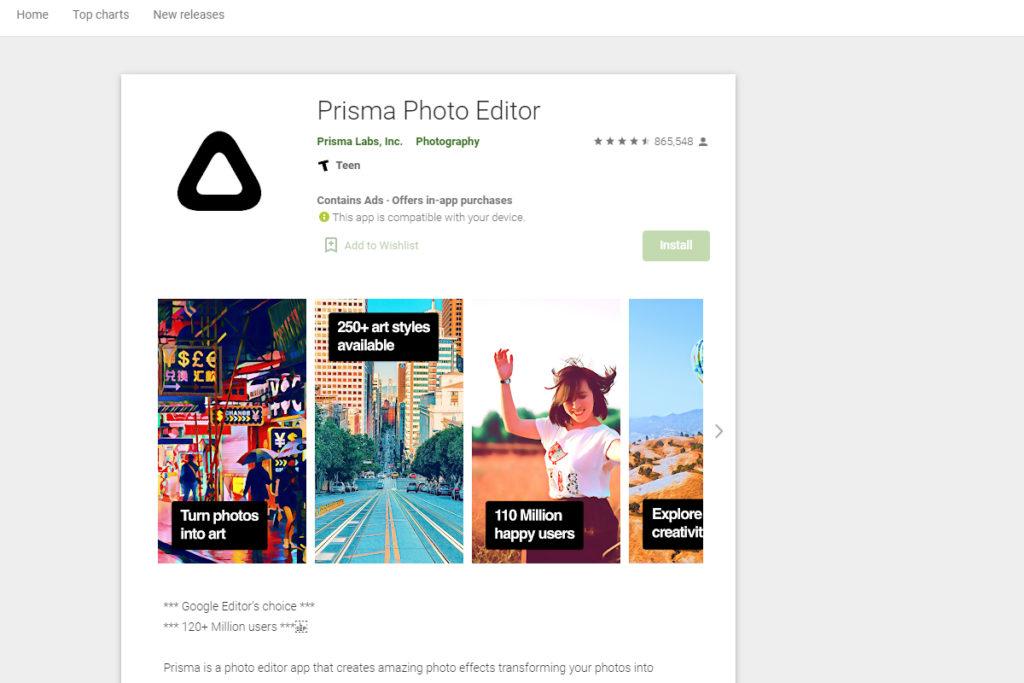 photos into paintings prisma app