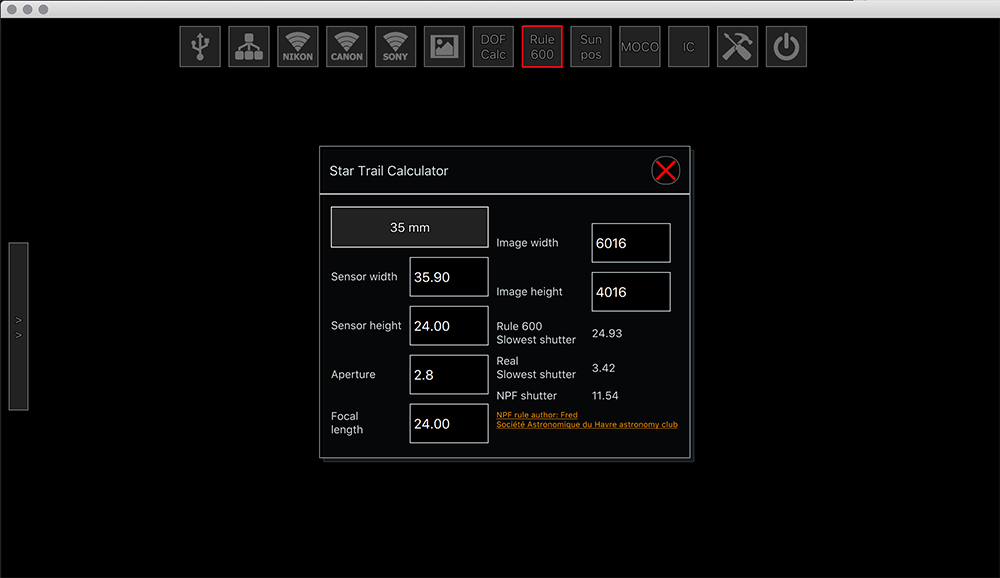 Screenshot of the qDslrDashboard App to calculate shutter speeds based on NPF rule and 600 rule