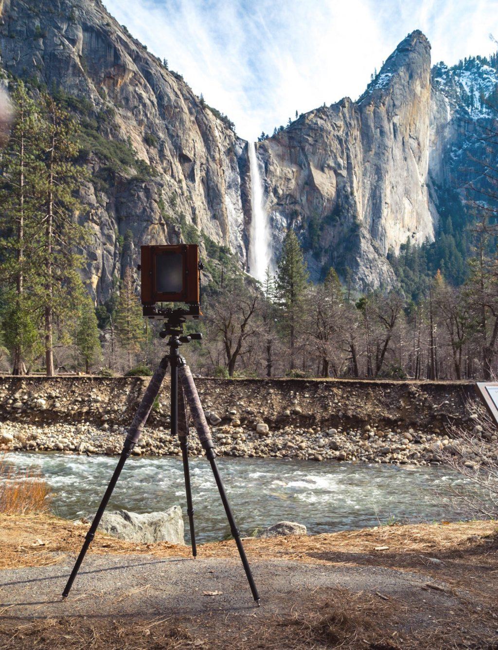 Large format camera taking beautiful landscape