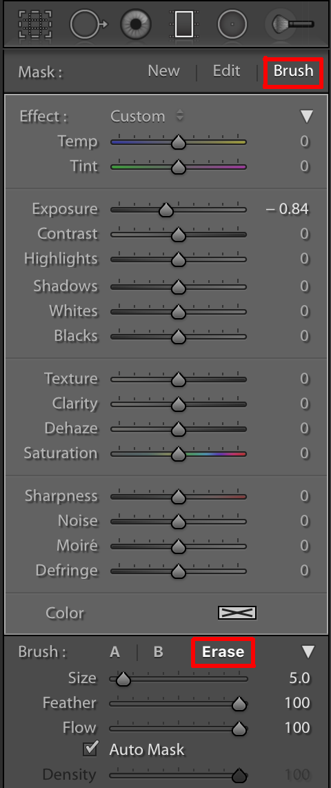 Brush and erase for gradient tool