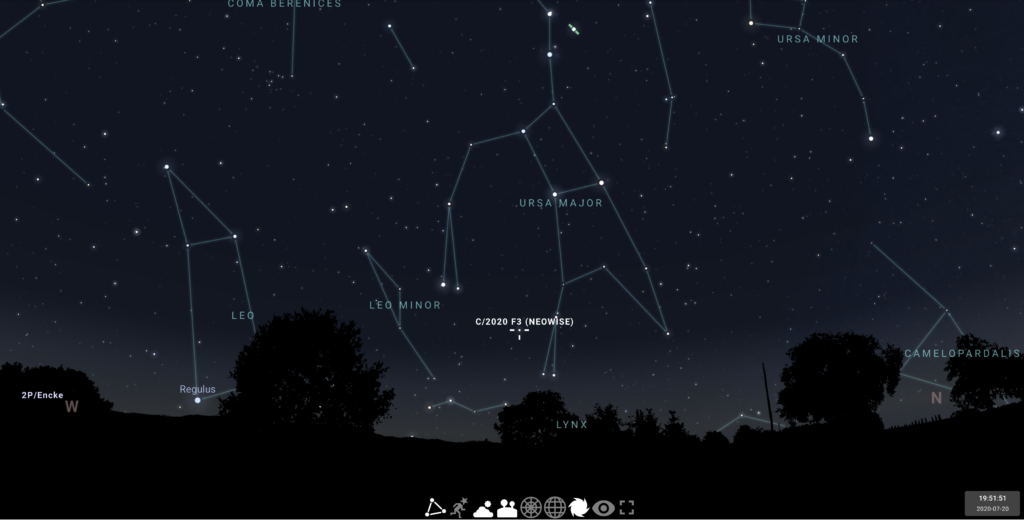 screenshot of the stellarium web app showing the comet neowise