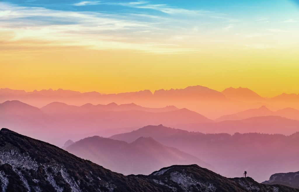 Sunrise over pretty landscape