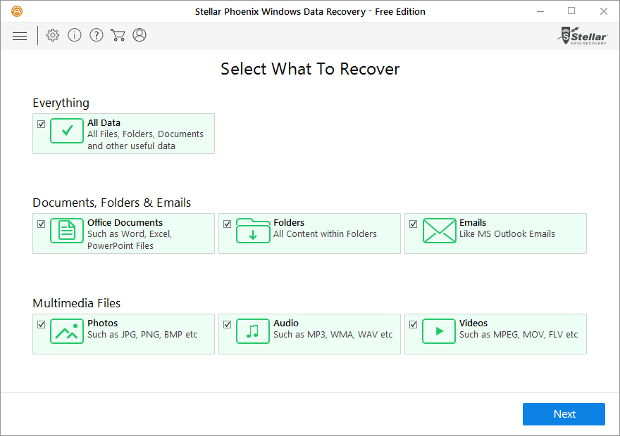 stellar phoenix windows data recovery software main interface