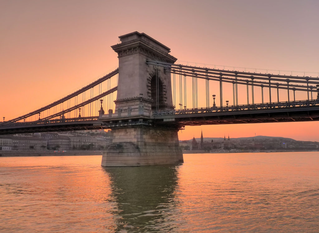 sunset over the danube budapest