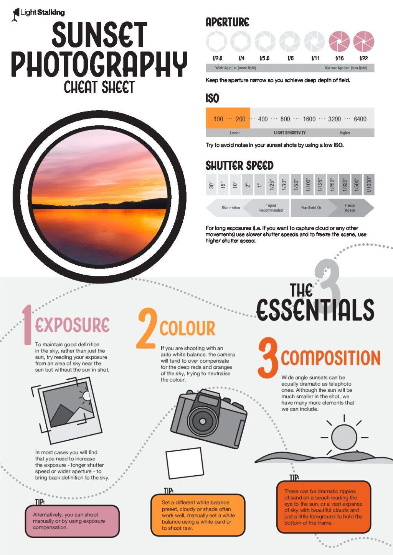 sunset photography cheat sheet pdf x